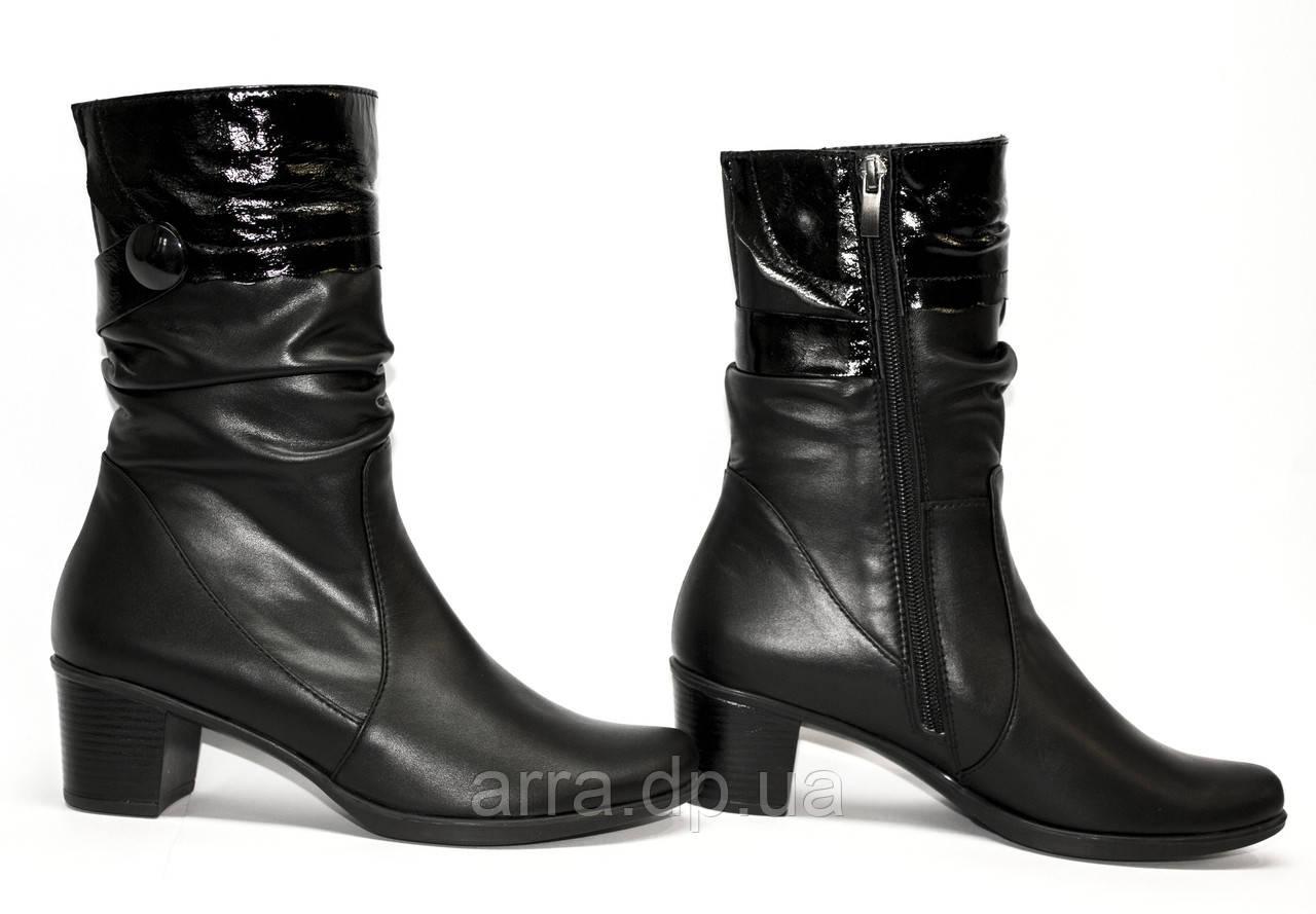 Кожаные, короткие ботинки на квадратном каблуке, комфорт.