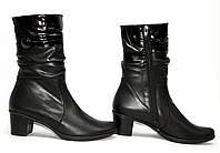 Кожаные, короткие ботинки на квадратном каблуке, комфорт., фото 1