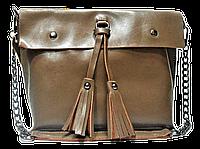 Женская сумка из натуральной кожи бежевого цвета с цепочкой IGF-011861