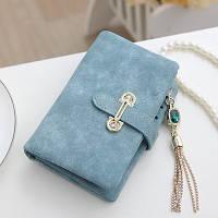 Женский кошелек из нубука CRYSTAL маленький с подвеской голубой