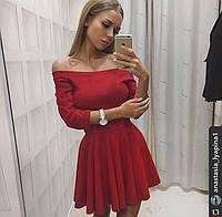 Платье женское короткое ткань замша, платье с поясом, цвет красный ля № вестерн