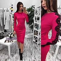 Красивое платье с кружевом на рукавах. Расцветки