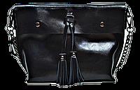 Женская сумка из натуральной кожи черного цвета с цепочкой IGF-201967