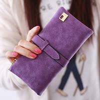 Женский кошелек из нубука FRIEND большой фиолетовый, фото 1