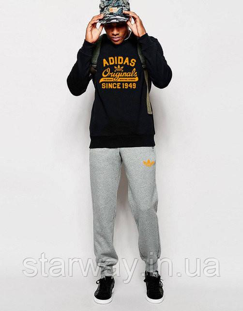 Cпортивный костюм Adidas оранжевый принт | черный верх серый низ