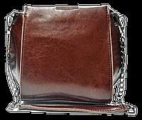 Сумка женская кожаная коричневого цвета на плечо с цепочкой LLA-000778, фото 1