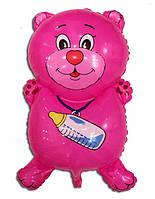 Фольгированный воздушный шарик Мишка с соской розовый 72 х 44 см.