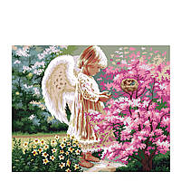 "KHO 1048  ""Ангелочек и птички 2"" Роспись по номерам на холсте (без коробки) 40х50см"