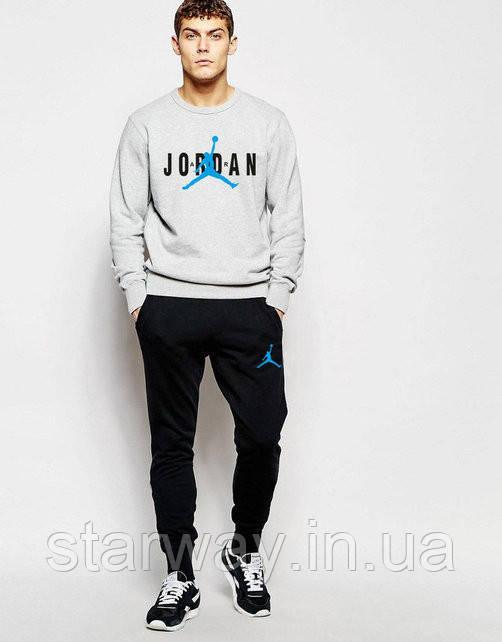 Мужской спортивный костюм Jordan blue logo | серый верх черный низ