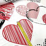 Ткань хлопковая с большими сердцами размером 20 см (№ 572), фото 5