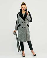 Пальто комбинированное с твидом серое