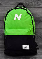 Городской рюкзак New Balance черный/салатовый не оригинал
