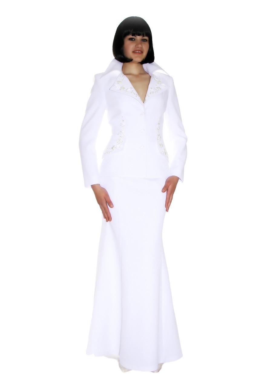 Костюм белый с юбкой годе и вышивкой лентами Арт.648 р.36,38