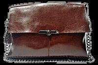 Интересная женская сумка из натуральной кожи на плечо коричневого цвета IGF-233232