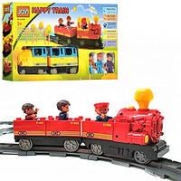 Конструктор M 0440 U/R 6188D, железная дорога, паровозик 15 см, вагон, 3 пассажира, свет, звук, на батарейках