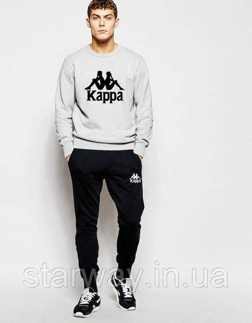 Мужской спортивный костюм Kappa серый верх черный низ