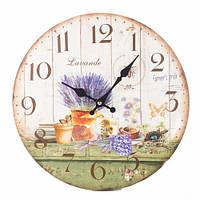 """Часы настенные из мдф """"Лаванда на кухне"""", 35 см."""