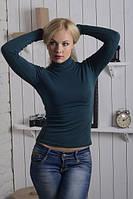 Водолазка женская теплая темно-зеленая., фото 1