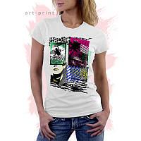 Женская белая футболка с рисунком Серфинг