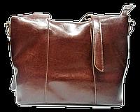 Стильная женская сумка из натуральной кожи коричневого цвета HYS-590843