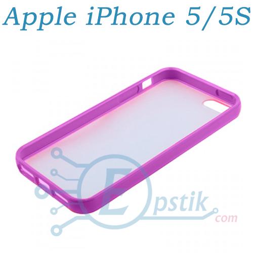 Чехол прозрачный для Apple iPhone 5, 5S Сиреневый
