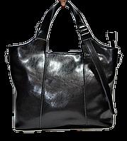 Практичная женская сумка из натуральной кожи черного цвета HYS-599900