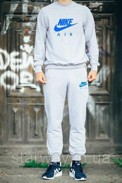 Мужской трикотажный костюм Nike Air синее лого | grey