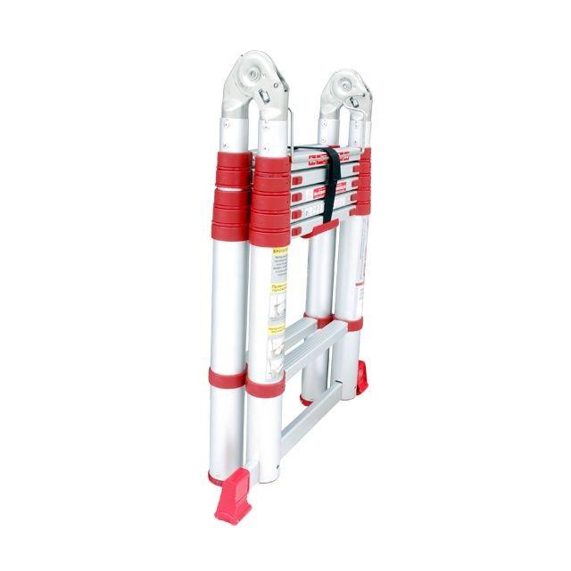 Лестница алюминиевая телескопическая раскладная универсальная 12 ступеней INTERTOOL LT-3039