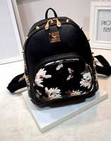 Товар с дефектом!!Черный городской рюкзак с шипами Цветы