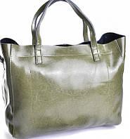 Кожаная зелёная сумка