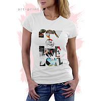 Женская белая футболка с рисунком REVOLUTION