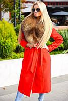 Красное женское кашемировое пальто с натуральным меховым воротником оптом и в розницу.