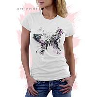 Женская белая футболка с принтом BUTTERFLY