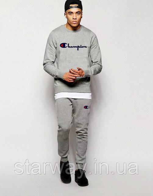 Спортивный серый костюм Champion | лого принт