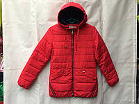 Куртка  детская демисезонная для девочки 7-11 лет,красная