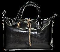 Стильная женская сумка из натуральной кожи черного цвета GRI-166801
