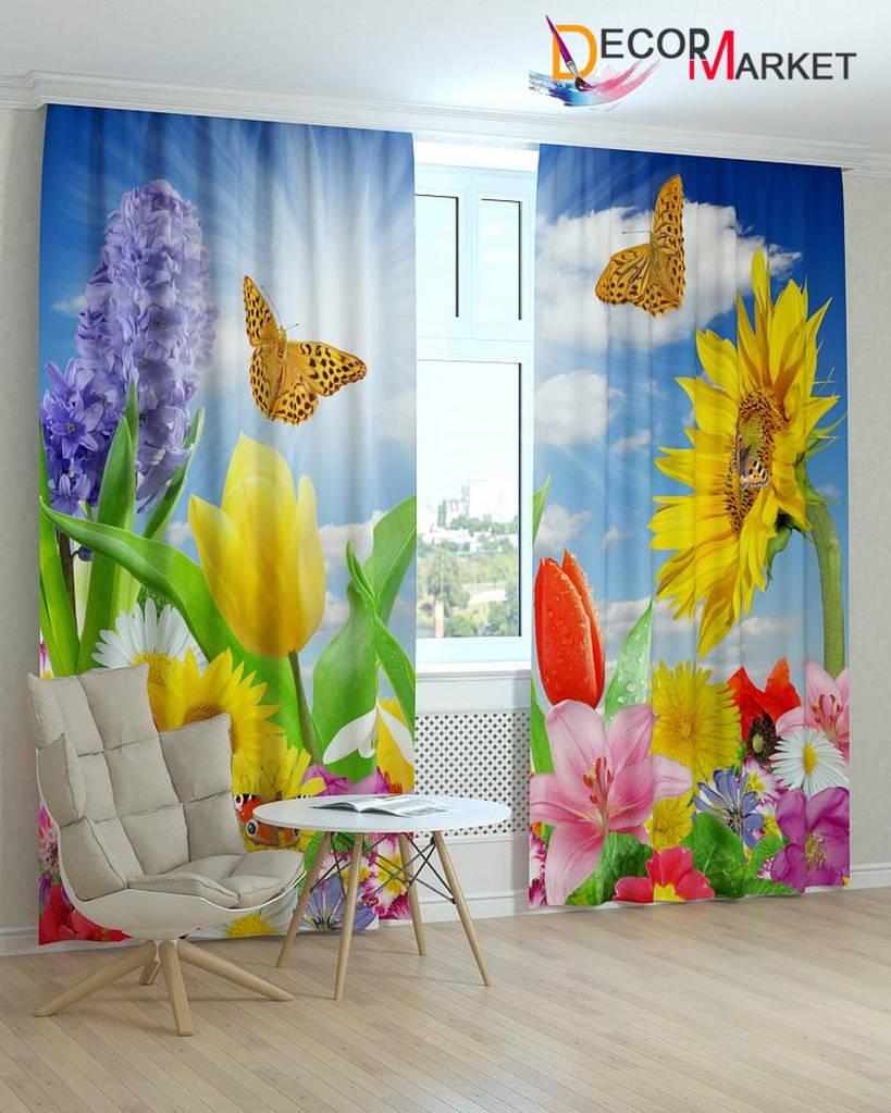 Фотошторы бабочки над подсолнухами