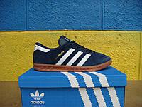 Новые черные кроссовки Adidas Hamburg Suede. (адидас хембург  сьюд) черные