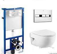 Комплект ROCA: PRO инсталяция для унитаза, PRO кнопка, MERIDIAN-N Compacto подвесной,сиденье твердое slow-clos