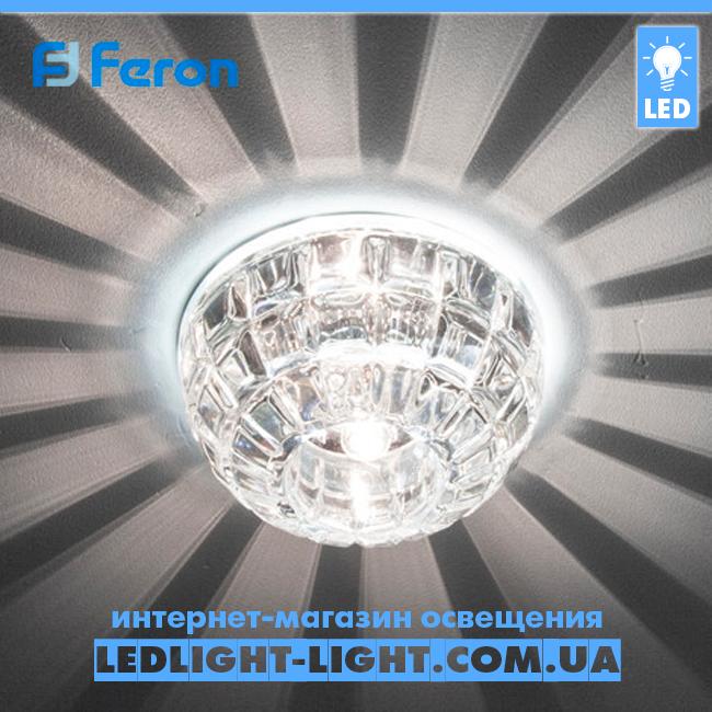 Врізний точковий світлодіодний світильник Feron JD87 з LED підсвічуванням