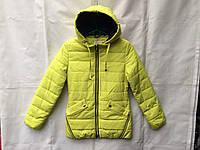 Куртка  детская демисезонная для девочки 7-11 лет,лимонная