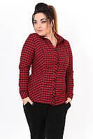 Стильная женская рубашка приталенного фасона в мелкую клетку рукав длинный байка батал