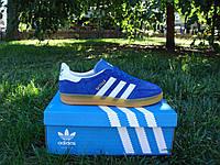 Купить синие кроссовки Adidas Gazelle Indoor Suede. ( адидас газель замшевые) синие с белыми полосками