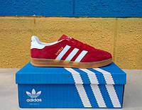 Красные кроссовки Adidas Gazelle Indoor Suede. ( адидас газель замшевые) синие с белыми полосками