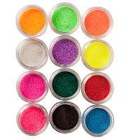 """Набор  """"Сахарного песка"""" для дизайна ногтей, 12 цветов"""
