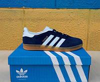 Черные новые кроссовки Adidas Gazelle Indoor Suede. ( адидас газель замша) синие с белыми полосками