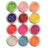 Набор песка и конфетти для дизайна ногтей, 12 цветов