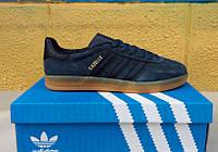 Стильные черные кроссовки Adidas Gazelle Indoor Suede. ( адидас газель) синие с белыми полосками