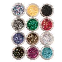 Набор объемного глитера для дизайна ногтей, 12 цветов