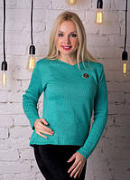 Трикотажная кофта женская яркая сочная зеленая .
